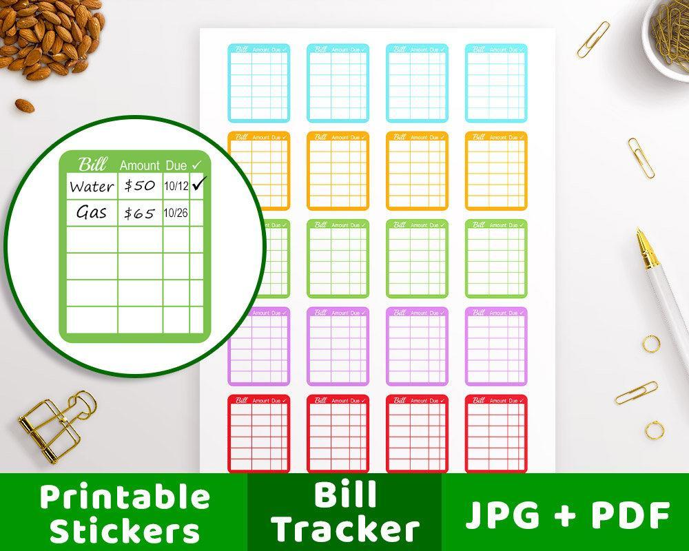 photo about Bill Printable referred to as Monthly bill Tracker Printable Planner Stickers