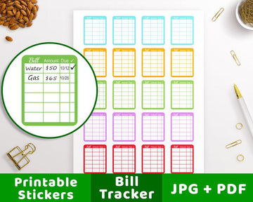 Bill Tracker Printable Planner Stickers