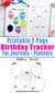 Birthday tracker printable for bullet journals and other planners, with a 2 page layout. Use this birthday planner printable to make sure you never forget about a birthday again!
