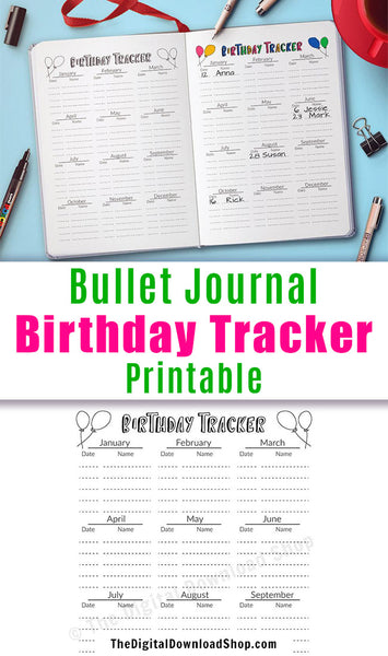 Bullet Journal Birthday Tracker Log Printable- Use this bujo printable to ensure you never forget a friend or family member's birthday! | bujo insert, planner insert printable, #bulletJournal #printable #DigitalDownloadShop