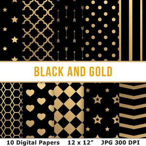 Black and Gold Digital Papers - The Digital Download Shop