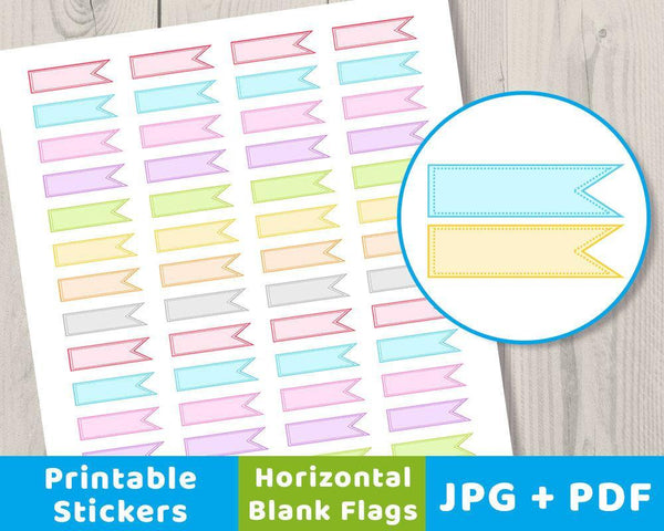 Blank Horizontal Flag Printable Planner Stickers - The Digital Download Shop