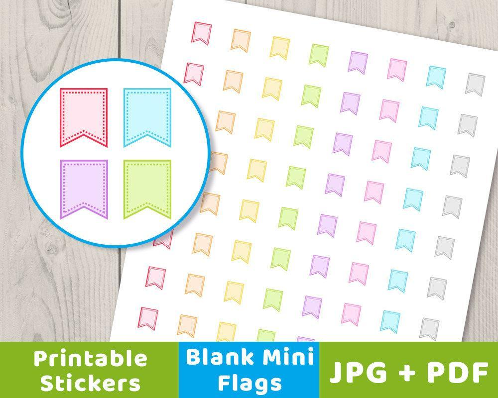 blank mini flag printable planner stickers | the digital download shop