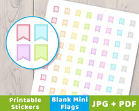 Blank Mini Flag Printable Planner Stickers - The Digital Download Shop