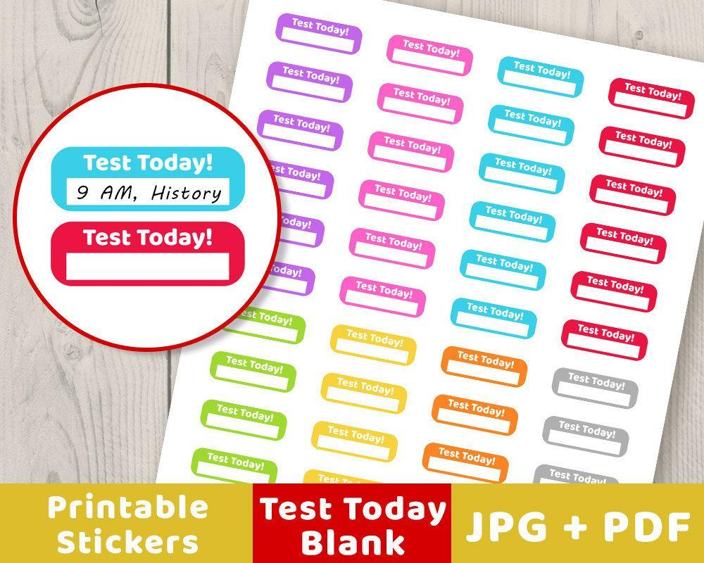 blank test today printable planner stickers | the digital download shop