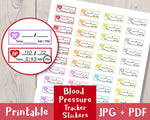 Blood Pressure Tracker Printable Planner Stickers - The Digital Download Shop
