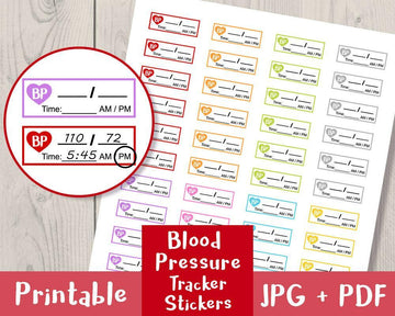 Blood Pressure Tracker Printable Planner Stickers