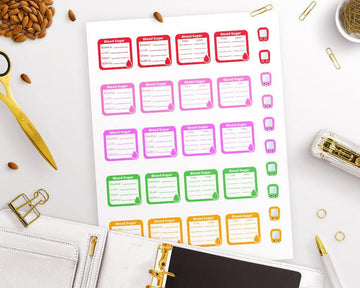 Blood Sugar Tracker Printable Planner Stickers