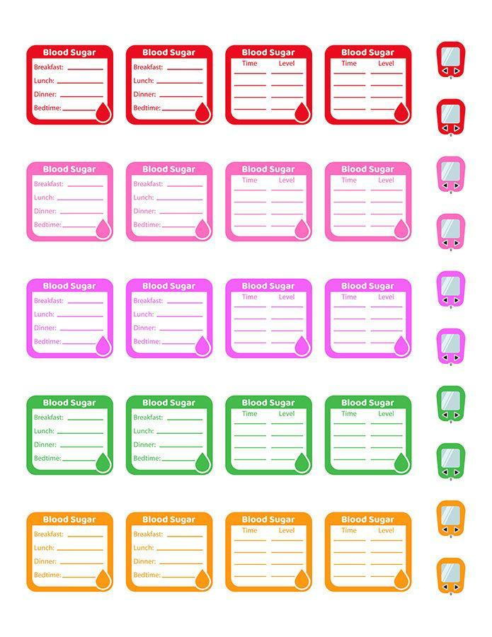 Blood Sugar Tracker Printable Planner Stickers | The ...