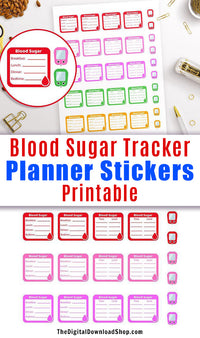 Blood Sugar Tracker Printable Planner Stickers- Make managing your diabetes easier with these handy tracker stickers! | glucose tracker planner stickers, #plannerStickers #diabetes #DigitalDownloadShop
