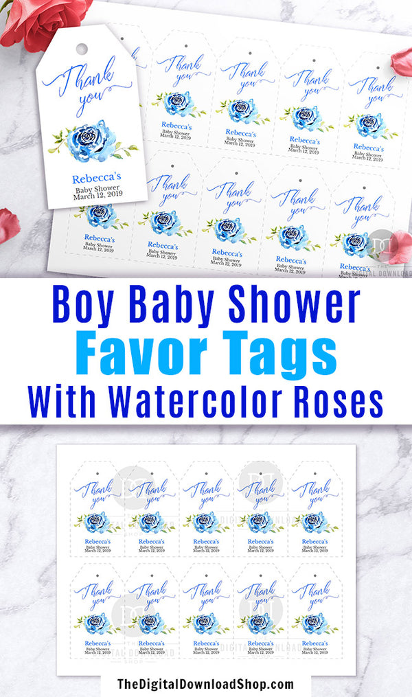 photograph regarding Baby Shower Thank You Tags Printable known as Boy Youngster Shower Like Tags Printable Editable The Electronic