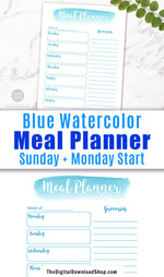 Meal Planner Printable- Blue Watercolor