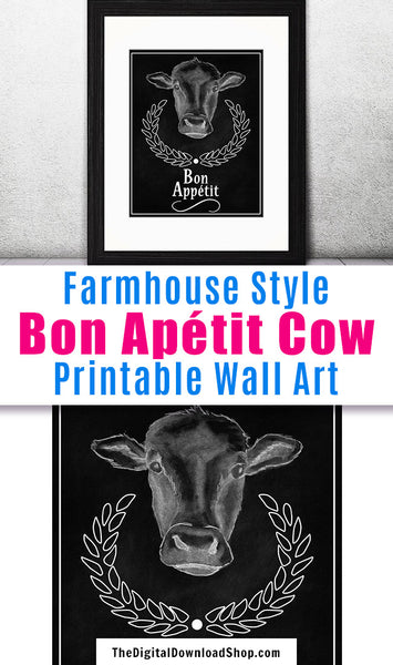 "Cow Bon Appetit Sign Printable Wall Art- This ""Bon Appétit"" cow printable wall art is perfect for framing and displaying in your kitchen or dining room. 