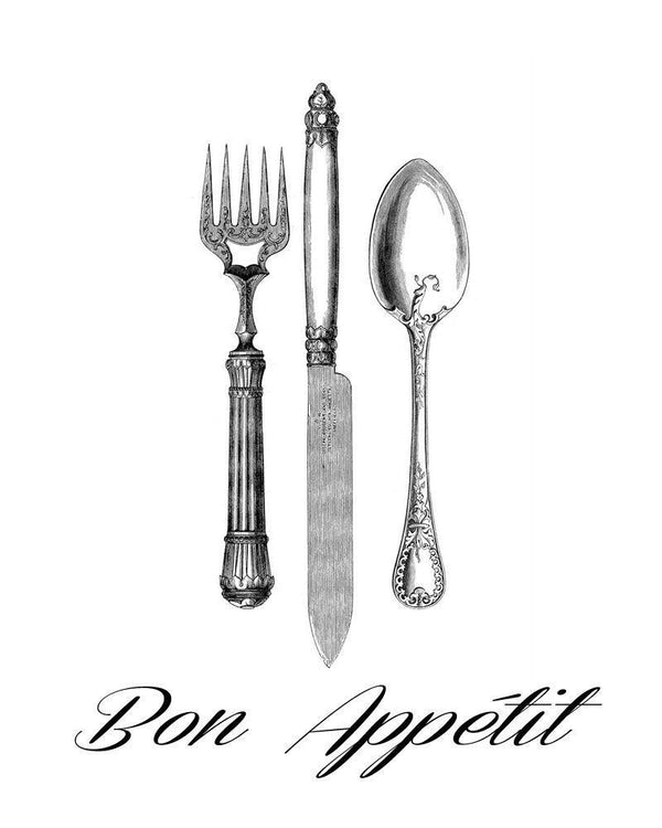 Bon Appetit Fork Knife Spoon Vintage Image - The Digital Download Shop