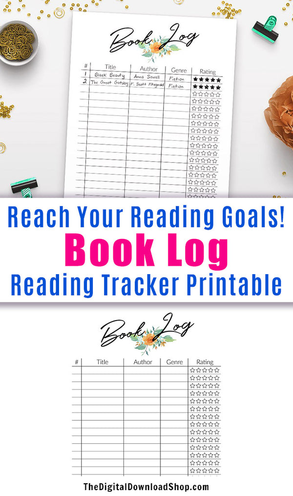 Reading Log Reading Tracker Printable- This is perfect for tracking your reading, plus it includes a handy star rating system so you can rate what you've read. | books I've read, summer reading, school reading tracker, #reading #planner #DigitalDownloadShop