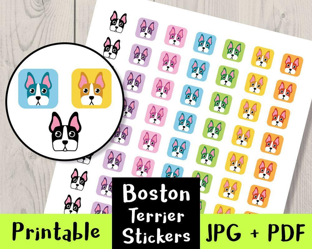 Boston Terrier Dog Printable Planner Stickers - The Digital Download Shop