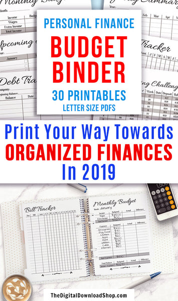 Budget Binder Printable- Get your family's finances organized with this handy financial planner printable! With 30 printable pages, everything you could possibly need to organize your family's finances and budget is right here! | personal finance planner, family financial planner, #budgeting #frugalLiving #DigitalDownloadShop
