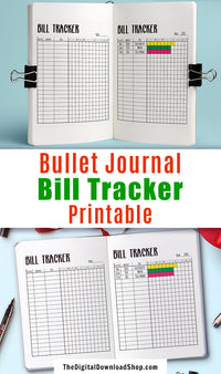 Bullet Journal Bill Tracker Printable- Keep track of your finances in your bujo with this handy bill tracker printable! | personal finance, budgeting, frugal living, #bulletJournal #bills #DigitalDownloadShop