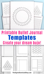 20 Bullet Journal Template Printables- This bujo bundle contains 20 wonderfully versatile designs, completely blank and ready to be filled and embellished to your tastes! Make trackers, logs, and more! | #bulletJournal #bujo #DigitalDownloadShop