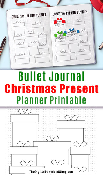 Christmas Present Planner Printable- Whether you're making or buying gifts for Christmas this year, you need a way to keep your gift ideas organized. This printable Christmas gift planner can help! | holiday planner, present tracker, planner inserts, #bulletJournal #Christmas #DigitalDownload Shop
