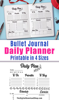 Bullet Journal Printable Daily Plan Printable for Bullet Journals and Planners