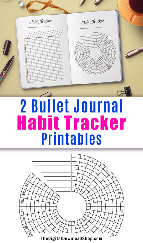 Bullet Journal Habit Trackers Printable- 2 bullet journal habit trackers- one circle habit tracker + one vertical habit tracker. Use these bujo printables to help yourself build new good habits, or stop bad ones. | bujo insert printables, #bulletJournal #habitTracker #DigitalDownloadShop