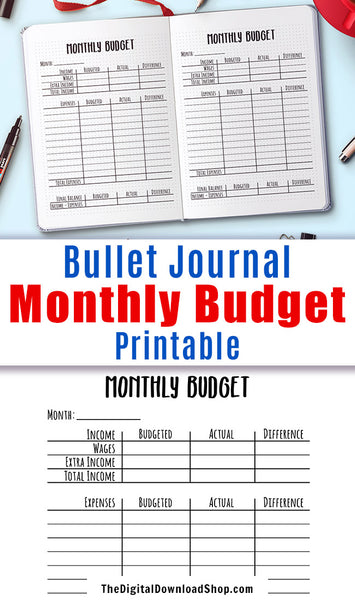 Monthly budget template printable for bullet journals and other planners. Use this budget tracker printable to add a finance planner section to your journal and keep track of your money! | #printable #bulletJournal #DigitalDownloadShop
