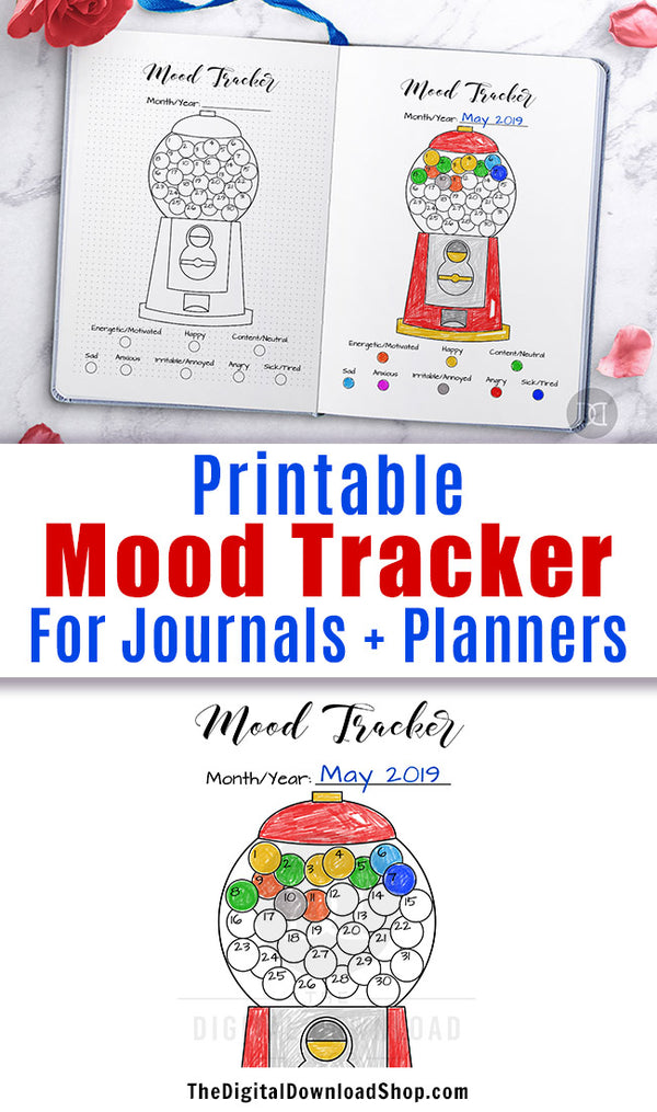 Mood tracker printable for bullet journals and other planners with a fun gumball machine design. | #bulletJournal #bujo #moodTracker #DigitalDownloadShop