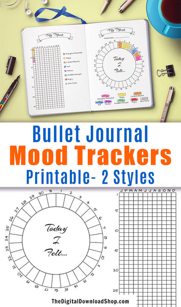 Printable Bullet Journal Mood Trackers in 2 Styles- Use these printable bujo inserts to track your moods in a fun, colorful way! | #moodTracker #bulletJournal #DigitalDownloadShop