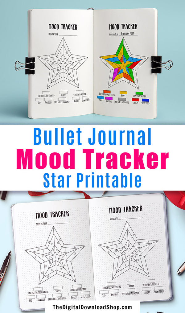 Bullet Journal Mood Tracker Printable: Star- Use this bujo tracker printable for a fun, colorful way to help track your moods, or use it to help you keep tabs on your anxiety or depression. | mental health, self care, feelings log, bujo planner inserts, #moodTracker #bulletJournal #DigitalDownloadShop