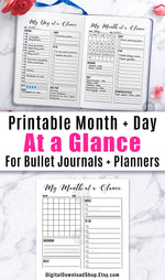 Day at a Glance + Month at a Glance Bullet Journal Printables