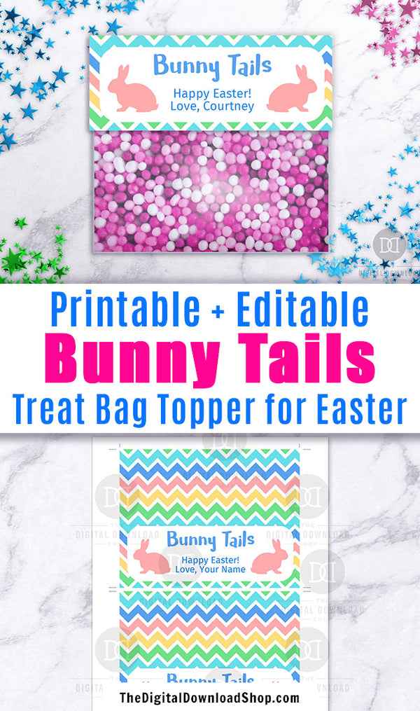 Bunny Tails Bag Topper Printable Editable
