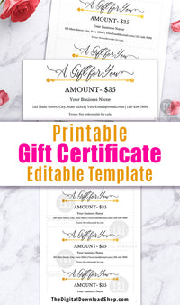 Printable Gift Certificate for Businesses- These editable gift cards are an easy, beautiful, and professional way to issue gift certificates for your business! | DIY gift certificate, business printables, #printable #smallBusiness #DigitalDownloadShop