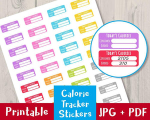 Calorie Tracker Printable Planner Stickers - The Digital Download Shop