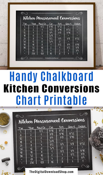 Chalkboard Kitchen Conversions Chart Printable- Have a helpful kitchen measurements conversion chart always on hand with this chalkboard printable! It includes conversions for teaspoons through gallons. | cooking measurements, #printable #kitchenConversions #DigitalDownloadShop