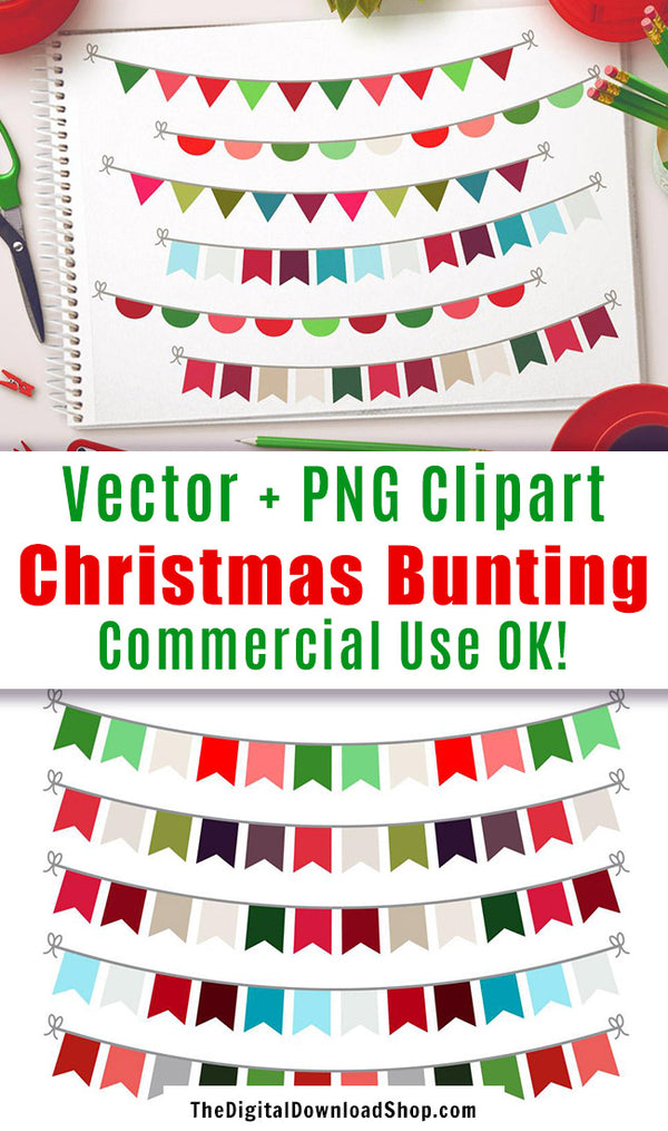 Christmas Bunting Clipart- 15 Christmas bunting vector clipart images for personal and commercial use! | holiday graphics, CU OK, #clipart #Christmas #DigitalDownloadShop