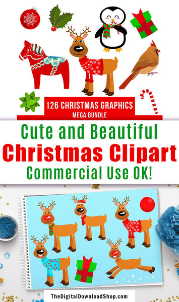 126 Christmas Clipart Mega Bundle- This Christmas graphics bundle comes with a variety of fun Christmas images, including animals, bows, ornaments, presents, snowflakes, and more! | #clipart #graphics #DigitalDownloadShop