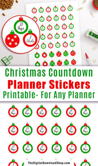 Christmas Countdown Printable Planner Stickers: Ornaments- Use these cute ornament stickers to count down the days and weeks until Christmas! | #plannerStickers #printable #DigitalDownloadShop