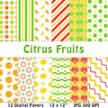 Citrus Fruit Digital Papers