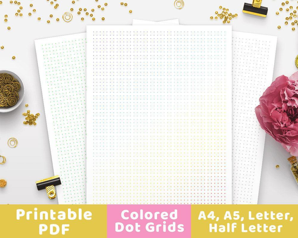 picture relating to A5 Dot Grid Printable identify Coloured Dot Grid Bullet Magazine Printable