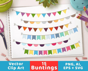 Colorful Bunting Clipart - The Digital Download Shop