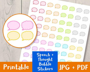 Comment Bubble Printable Planner Stickers - The Digital Download Shop