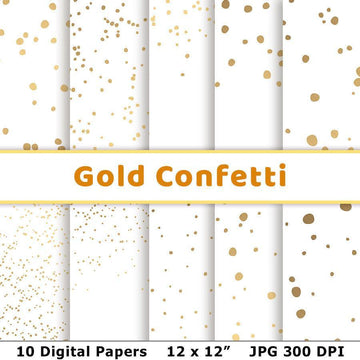 Confetti Gold Digital Papers