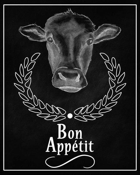 Cow Bon Appetit Sign Printable Wall Art - The Digital Download Shop