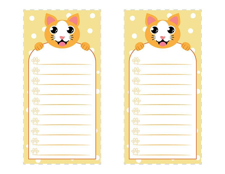 picture about Printable Notepad identified as Lovable Cat Notepad Printable