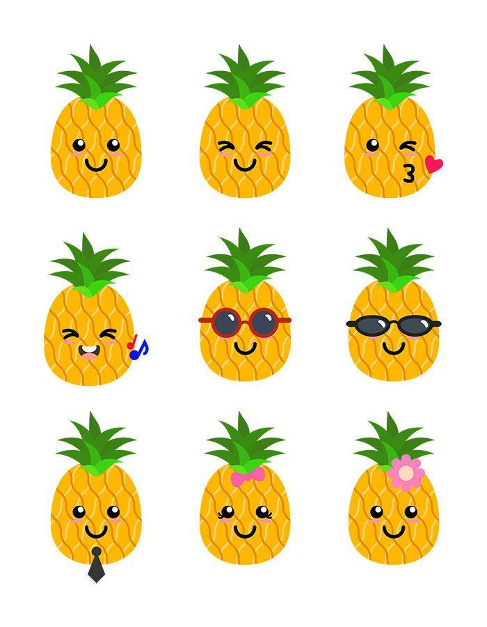 Cute Pineapples Clipart | The Digital Download Shop