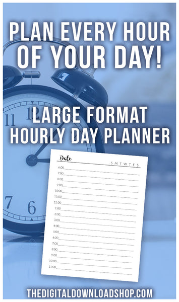Hourly Planner Daily Schedule Printable- With plenty of space to write, it's easy to plan out your day by hour with this daily schedule planner printable! | planner with hours, hourly planner, to-do list printable, planner inserts, #planner #productivity #DigitalDownloadShop