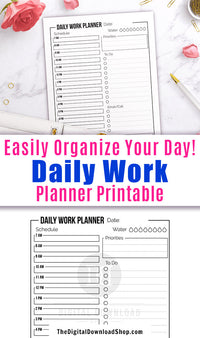 Daily work planner printable with a minimalist black and white design.