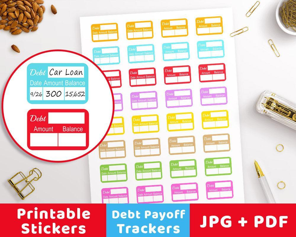 Debt Payoff Printable Planner Stickers - The Digital Download Shop