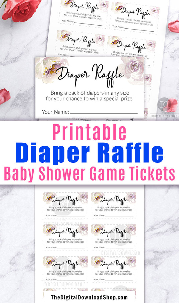 Printable raffle tickets with watercolor white flowers for a gender neutral baby shower. These printable diaper raffle game tickets are a fun and easy way to host a raffle game at your baby shower!